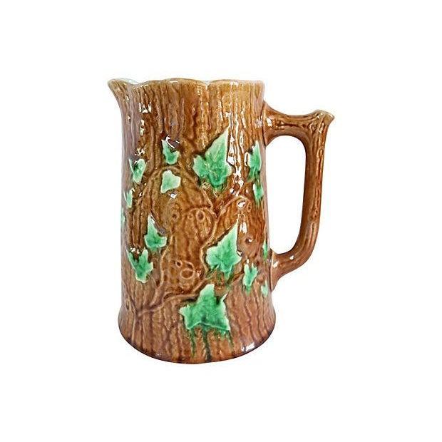 Antique English Majolica Ivy & Bark Jug - Image 2 of 4