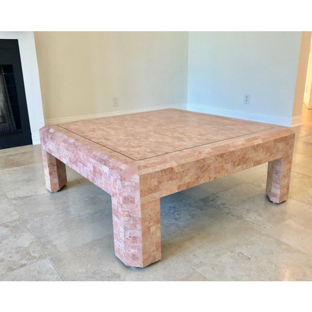 Metal Maitland Smith Hollywood Regency Pink Tessellated Stone Coffee Table For Sale - Image 7 of 7