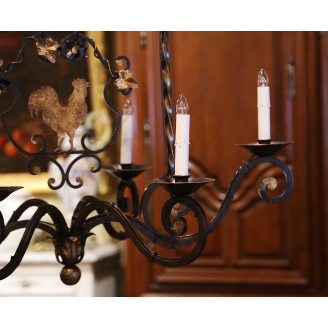Early 20th Century French Six-Light Iron Chandelier With Center Rooster For Sale - Image 10 of 13