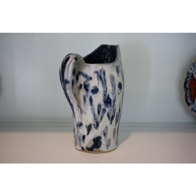 Abstract Handmade Blue & White Stoneware Pitcher For Sale - Image 5 of 11