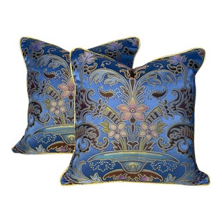"""Christopher Hyland Silk Lampas 18"""" Pillows - a Pair For Sale"""