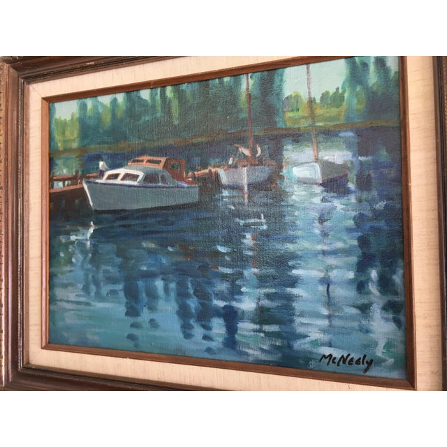 Abstract Vintage Oil on Canvas Painting - Napa River For Sale - Image 3 of 8