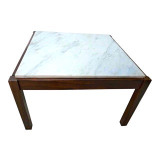 Danish Modern Rosewood & Marble Coffee Table For Sale