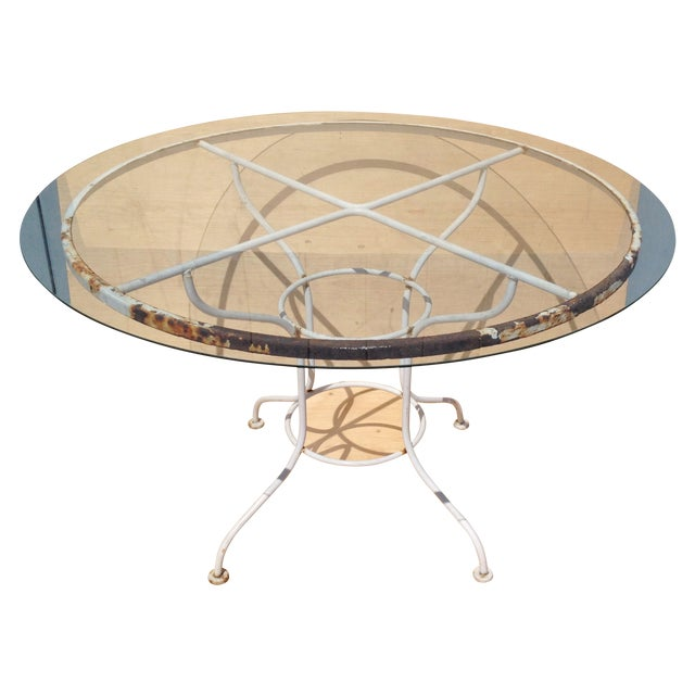 Vintage Metal Patio Dining Table with Glass Top - Image 1 of 4