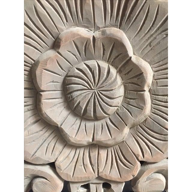 Floral Carved Wood Panels - Set of 3 - Image 7 of 8