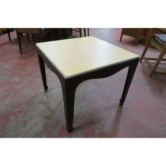 1960s Mid Century Modern Side Table With Lacquered Grass Cloth Top For Sale - Image 4 of 4