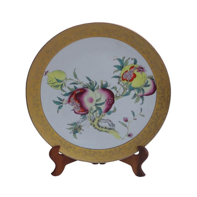 Chinese Porcelain Display Plate With Pomegranate Painting For Sale In San Francisco - Image 6 of 6