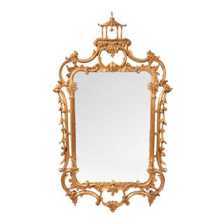 Early 20th Century Carved Wood Chippendale Style Beveled Hanging Wall Mirror For Sale