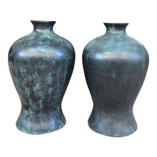 Asian Chinese Japanese Large Bronze Meiping Vases Pair Set 2 Heavy Antique Vintage Patina For Sale