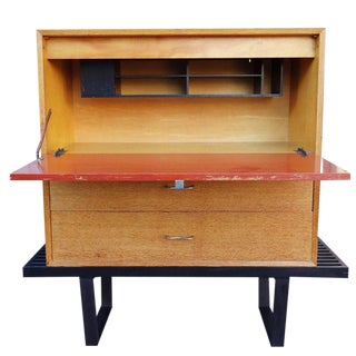 Early Midcentury Modular Cabinet on Platform Bench by George Nelson For Sale