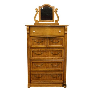 Late 20th Century Vintage Pulaski Furniture Keepsakes Collection Oak Chest of Drawers For Sale