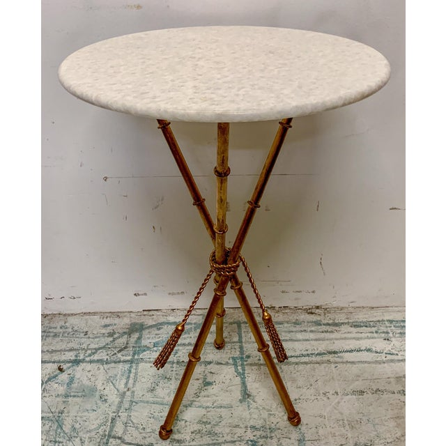 Metal Italian Gilt Faux Bamboo Metal and Marble Side Table For Sale - Image 7 of 7