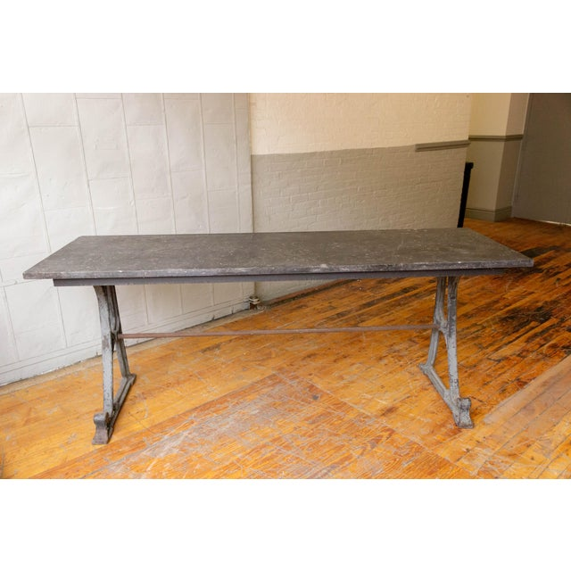 Gray 20th Century Industrial Iron Console With Marble Top For Sale - Image 8 of 11