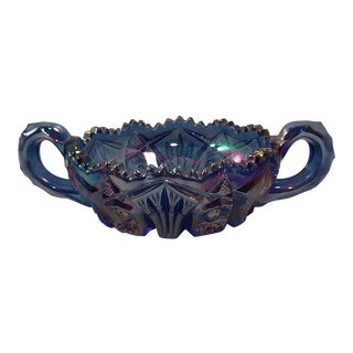 Imperial Blue-Amethyst Carnival Glass Bowl With Handles For Sale
