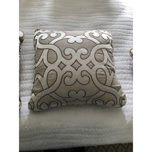 """Textile Scalamandre Damascus Embroidery Square 18"""" Pillows (3 Available) For Sale - Image 7 of 13"""