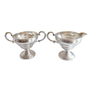 1940's Columbia Sterling Weighted Creamer and Sugar Set - a Pair For Sale