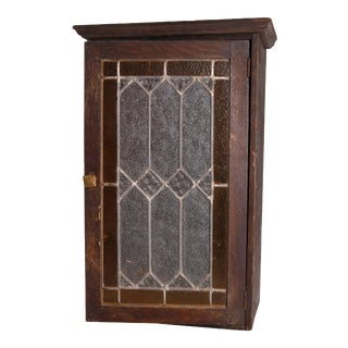 Antique Arts & Crafts Mission Oak & Leaded Glass Wall Cabinet, circa 1910 For Sale