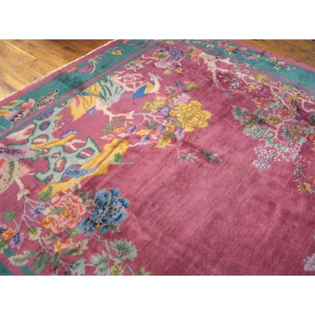 """1920s Antique Chinese Art Deco Rug 9'0"""" X 11'8"""" For Sale - Image 5 of 7"""