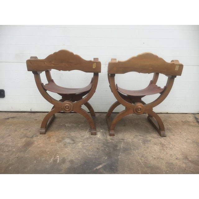 Vintage Spanish Leather & Wood Chairs - A Pair - Image 7 of 9