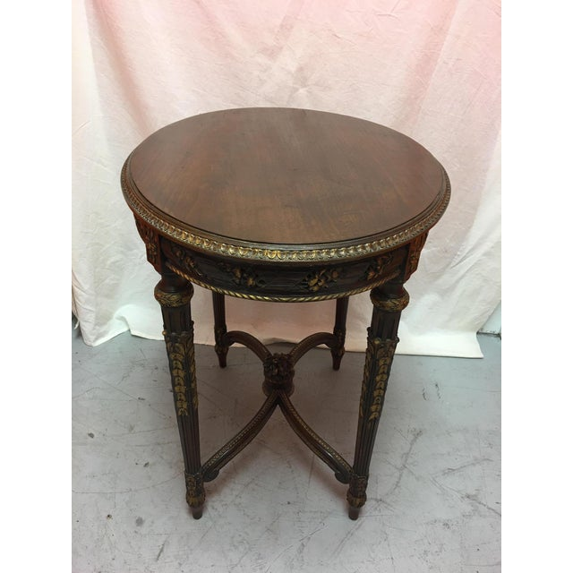 Wood French Mahogany Oval Table With Gold Painted Ormolu, Early 20th Century For Sale - Image 7 of 8