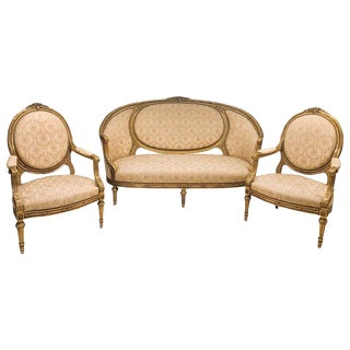 French Giltwood Louis XVI Style Cameo Back Sofa Settee and Pair of Armchairs For Sale