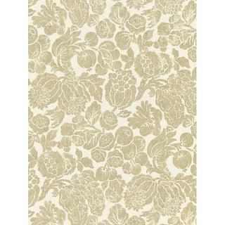 Sample, Scalamandre Elsa Linen Print, Burnished Gold Fabric For Sale