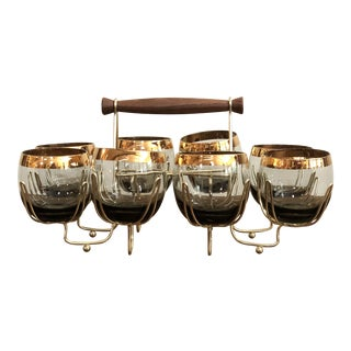 Mid-Century Modern Atomic Caddy With Charcoal Brown & Gold Trim Tumblers - Set of 8 For Sale