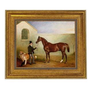 Ashton Being Held Framed Oil Painting Print of Horse on Canvas in Antiqued Gold Frame For Sale