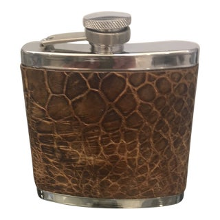 Stainless Steel Flask With Genuine Alligator Cover For Sale