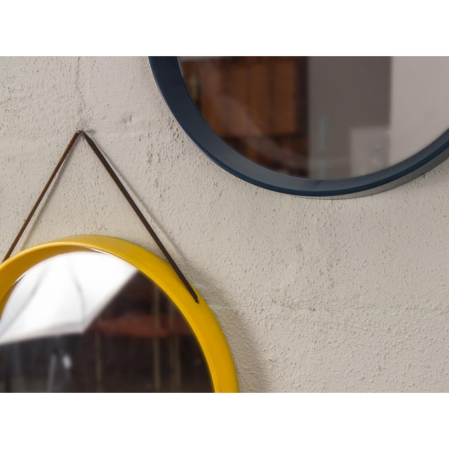 Danish Modern Navy Blue Circular Wall Mirror For Sale - Image 4 of 7