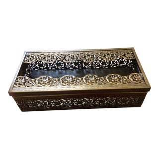 1950s Hollywood Regency Ormolu Tissue Box For Sale