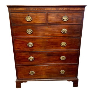 18th Century Antique Tall Mahogany Chest of Drawers Dresser For Sale