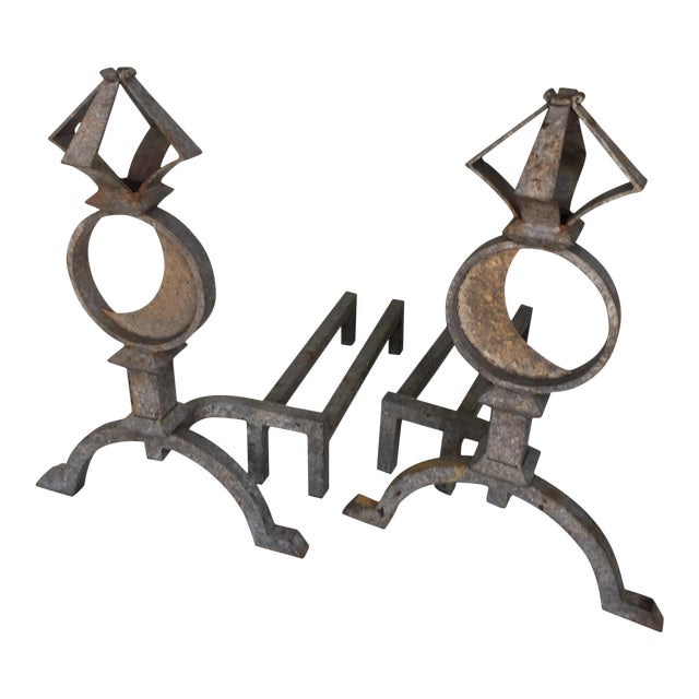 Distressed Wrought Iron Andirons Astrological - Image 1 of 9
