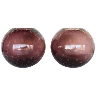 Italian Pulegoso Amethyst Murano Glass Vases by Alberto Dona - a Pair For Sale