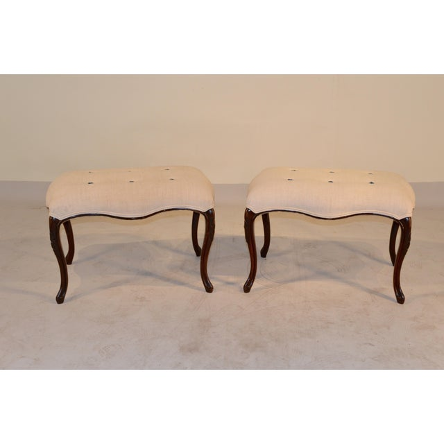 French 19th C French Mahogany Benches- a Pair For Sale - Image 3 of 6