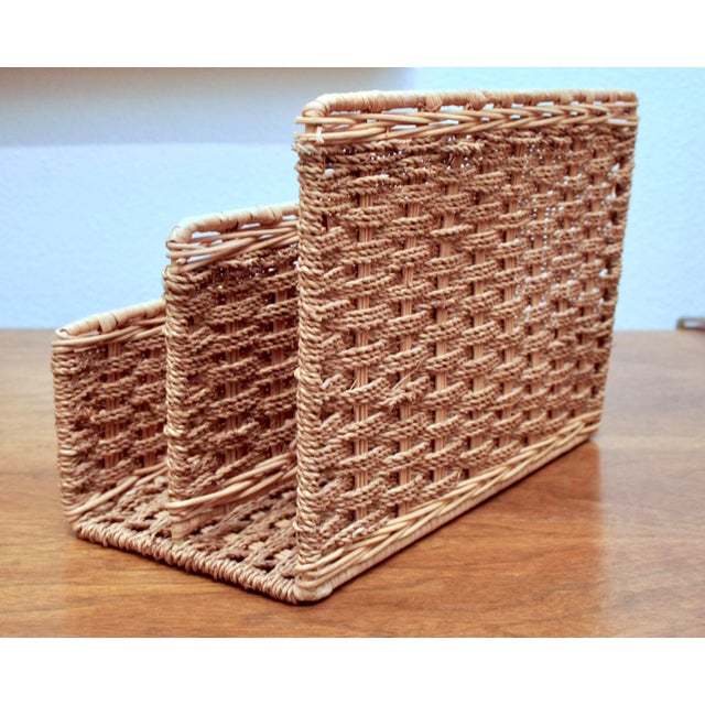 adirondack woven rope rattan desktop letter organizer for sale image 3 of 10