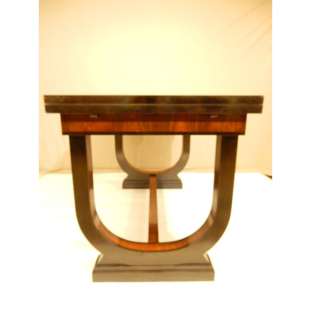 1930s Art Deco Leather Top Table With Extensions For Sale - Image 5 of 11