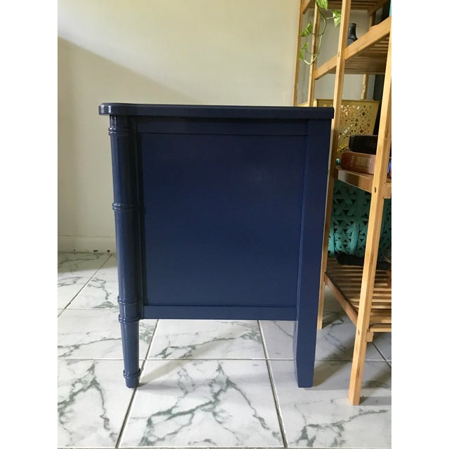 Faux Bamboo Vintage Mid-Century Henry Link Style Navy Blue Faux Bamboo Nightstand For Sale - Image 7 of 13