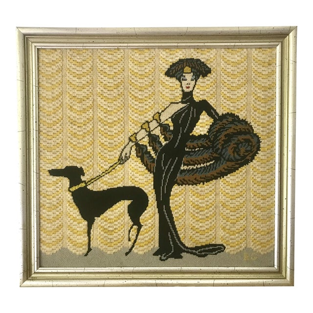 Vintage Wall Art Needlepoint Erte's Symphony in Black or Gloria Swanson? For Sale