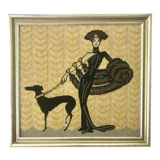 Vintage Wall Art Needlepoint of Woman With Dog - Gloria Swanson? For Sale