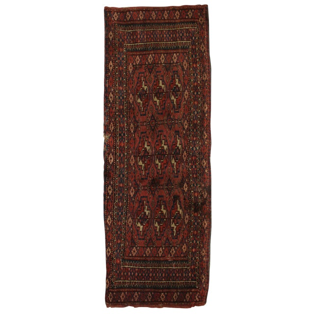"Antique Hand Knotted Turkmen Yomut Rug - 1'3"" x 3'3"" For Sale"