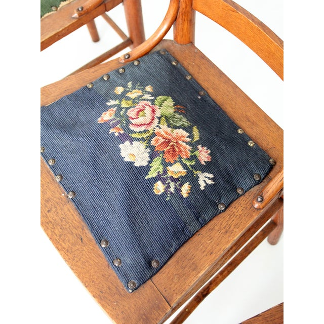 Wood Victorian Ladder Back Chairs With Needlepoint - Set of 4 For Sale - Image 7 of 8