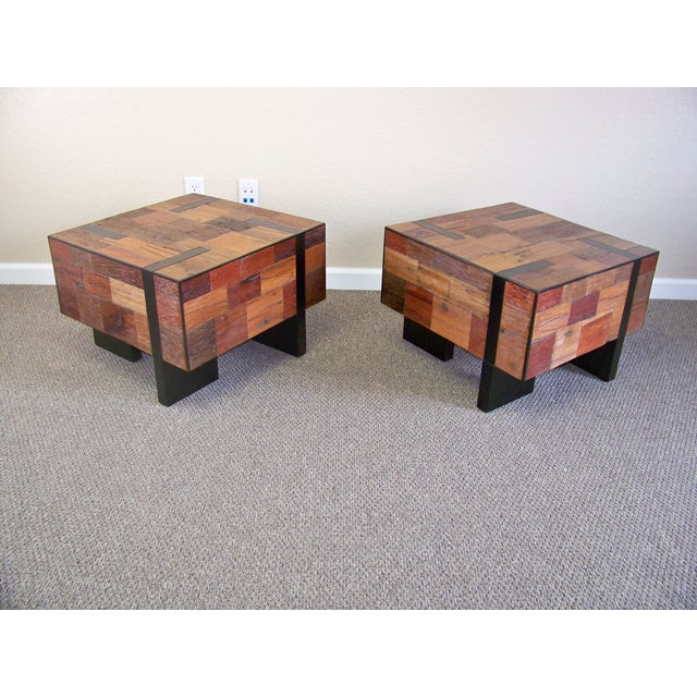 Reclaimed Wood End Tables - A Pair - Image 2 of 6