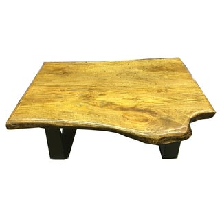 Minimalist Natural Wood Slab Modern Coffee Table