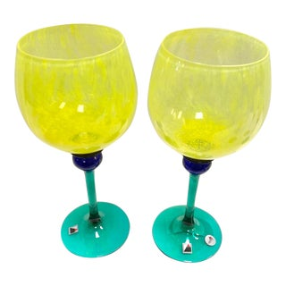 "Signed Opus ""Mardi Gras"" Yellow Balloon Wine Glasses - Set of 2 For Sale"