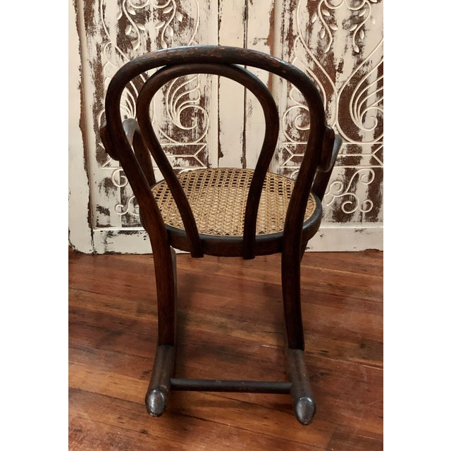 Thonet Late 20th Century Vintage Thonet Bentwood Childs Cane Set Rocker For Sale - Image 4 of 13