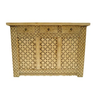 Raw Elm Carved Pattern Cabinet