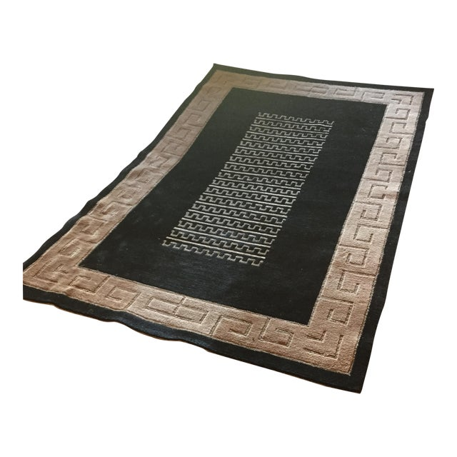 "Black and Natural Contemporary Rug - 4'10"" X 7'10"" - Image 1 of 4"