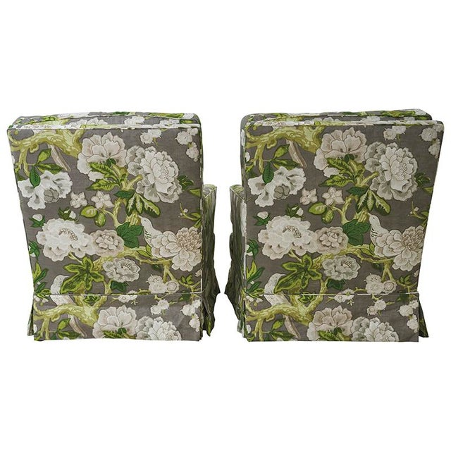 Pair of Vintage Club Chairs upholstered in Schumacher Bermuda Blossoms fabric (175872). Since Schumacher was founded in...
