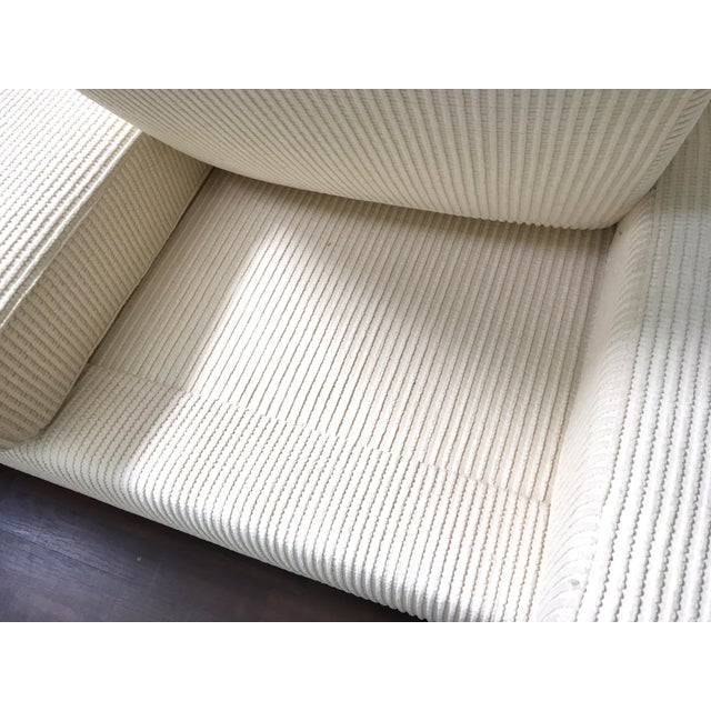 Fabric Milo Baughman Inspired 3-Piece White Chenille Modernist Sectional Sofa For Sale - Image 7 of 7